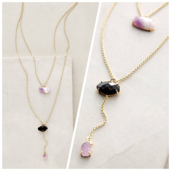 New Antropologie Double Drop Amethyst Necklace   Nwt by Free People